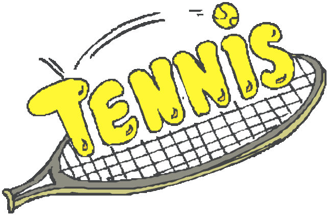 The word Tennis on top of a tennis raquet