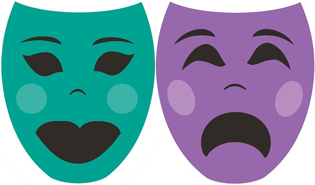 teal and purple drama masks